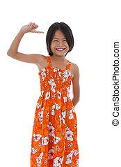 cute asian girl - cute shy asian girl raising her hand,...