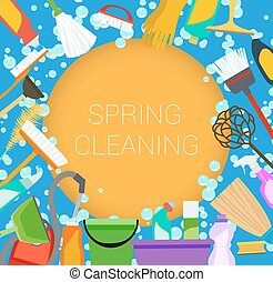 Spring cleaning supplies frame on orange and blue. Tools of...