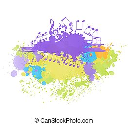 musical notes backgorund with blot and halftone