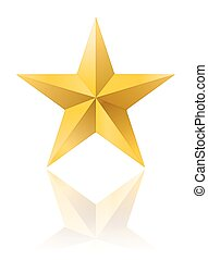 golden star shape isolated on white with reflection. vector illustration