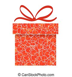 abstract red gift box with heart pattern