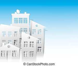 white houses paper cut out style as real estate symbols on light blue sky background
