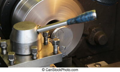 metal milling machine - Turning lathe in actionFacing...