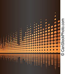 musical background with studio digital frequency volume lines on dark brown. vector illustration