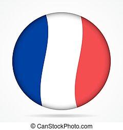 bouton, à, onduler, drapeau, de, france,