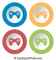 set of four icons - gamepad - set of four colored icons with...