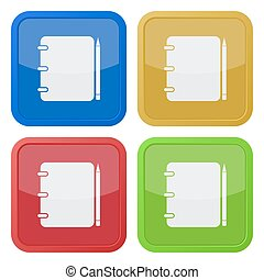 set of four square icons - notepad with pencil