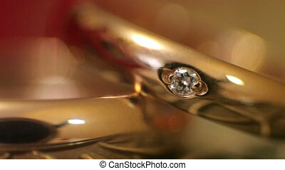 Diamond rings in light close-up