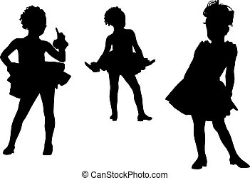 Happy silhouette children - Small dancer