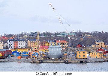 shipyard - Stockholm, Sweden - March, 19, 2016: The image of...