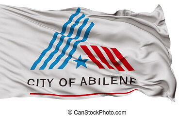 Isolated Waving National Flag of Abilene City, Texas -...