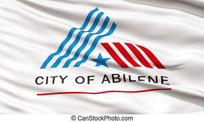 Closeup Waving National Flag of Abilene City, Texas -...