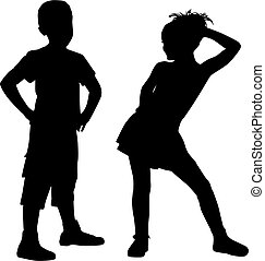Silhouette small friends - Boy and girl