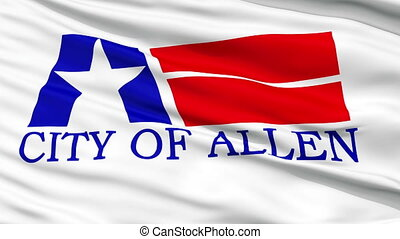 Closeup Waving National Flag of Allen City, Texas - Allen...