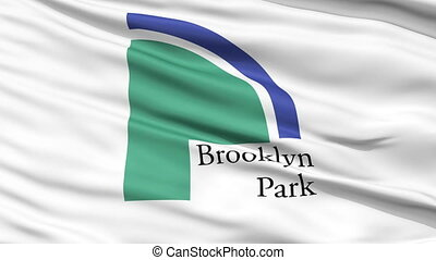 Closeup Waving National Flag of Brooklyn Park City,...