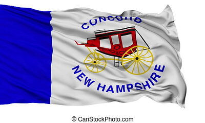 Isolated Waving National Flag of Concord City, New Hampshire