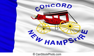Closeup Waving National Flag of Concord City, New Hampshire
