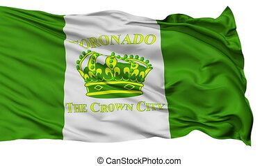 Isolated Waving National Flag of Coronado Ciry, California -...