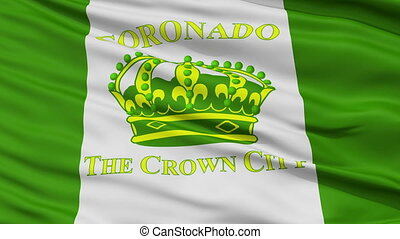 Closeup Waving National Flag of Coronado Ciry, California -...