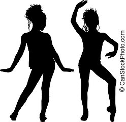 Joy silhouette children - Girls dancer