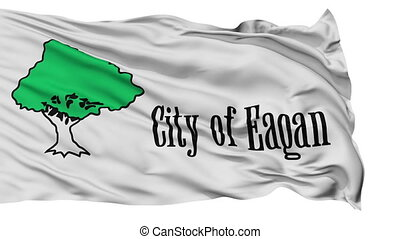 Isolated Waving National Flag of Eagan City, Minnesota