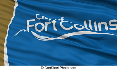 Closeup Waving National Flag of Fort Collins City, Colorado...