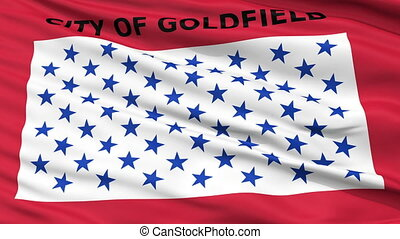 Closeup Waving National Flag of Goldfield City, Colorado -...