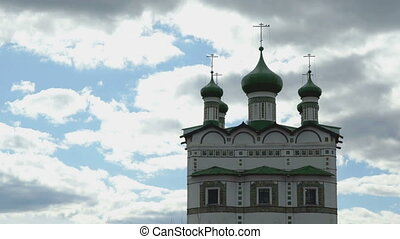 Dark green domes with crosses of Orthodox Church on the...