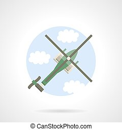 Reconnaissance helicopter flat color vector icon - Green...