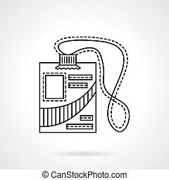 Reporter id badge flat line vector icon