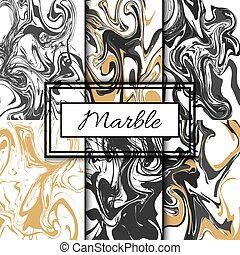 Marble texture vector set. Hand drawn ink marble. - Marble...