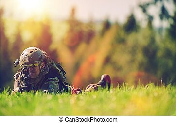 Soldier Spotting Enemy - Soldier with Rifle Spotting Enemy...
