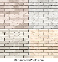 Vector Set of Brick Seamless Textures Patterns Wall...