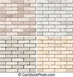 Vector Set of Brick Seamless Textures Patterns Wall...