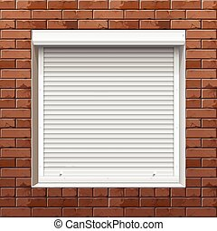 Window with Rolling Shutters on a Brick Wall