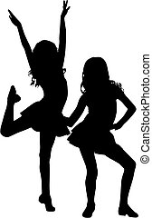 Happy silhouette children - Silhouette enjoy girls