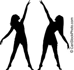 Silhouette women dance