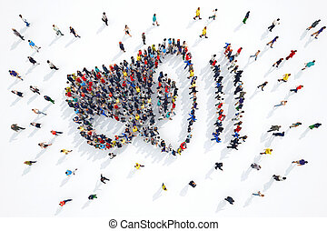 3D rendering of megaphone people - 3D rendering of people...