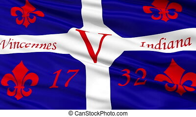 Closeup Waving National Flag of Vincennes City, Indiana -...