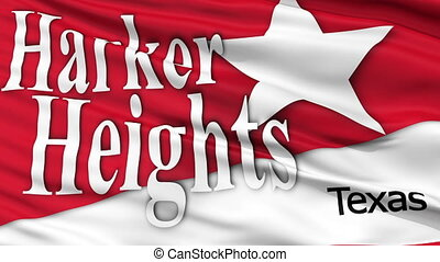 Closeup Waving National Flag of Harker Heights City, Texas -...