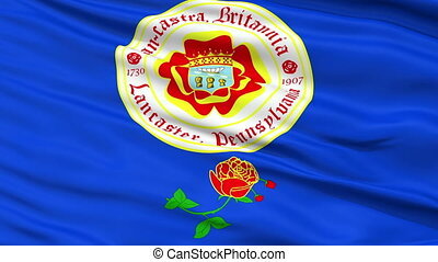 Closeup Waving National Flag of Lancaster City, Pennsylvania...