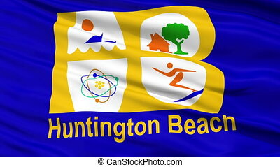 Closeup Waving National Flag of Huntington Beach City,...