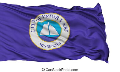Isolated Waving National Flag of Prior Lake City, Minnesota...
