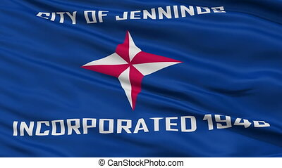 Closeup Waving National Flag of Jennings City, Missouri -...
