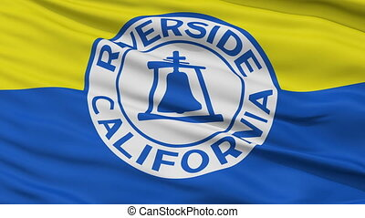 Closeup Waving National Flag of Riverside City, California -...