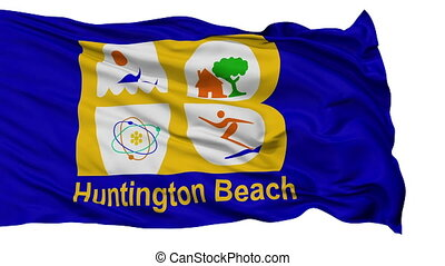 Isolated Waving National Flag of Huntington Beach City,...
