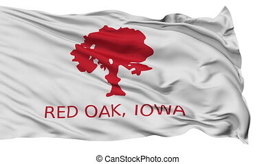Isolated Waving National Flag of Red Oak City, Iowa