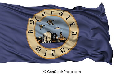 Isolated Waving National Flag of Rochester City, Minnesota