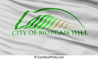 Closeup Waving National Flag of Morgan Hill City, California...