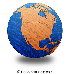 North America on wooden Earth - North America on wooden...
